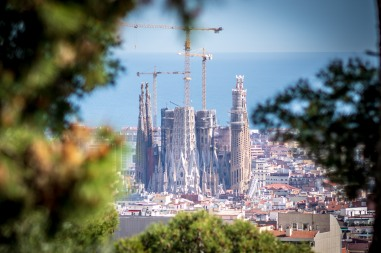 The view of La Sagrada Familia from Park Guell