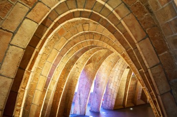 Gaudi liked to use arches in his designs due to the strength and lightweight nature. This gave an effect that looked like a snake's skeleton
