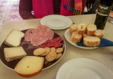 Cheese and meat platter with bread