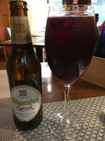 Alhambra Especial Beer and a Tinto De Verano (red wine and Lemonade)